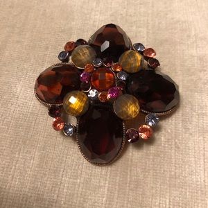 Sparkly Burgundy Flower Brooch